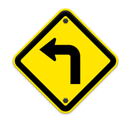 Turn left road sign Stock Photo