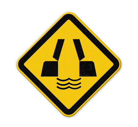 drive safely: opening or swing bridge ahead in yellow background sign