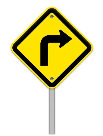 choose a path: Turn right road sign