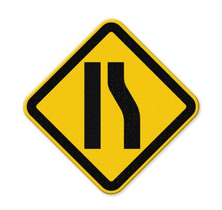 narrowing: Road narrows merge left sign isolated on a white background