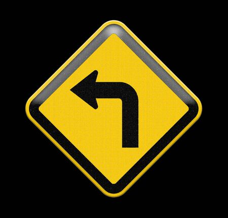 Turn left yellow road sign