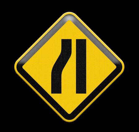 narrowing: Road narrows merge sign