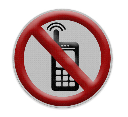 cell phones not allowed: No cellular phones sign