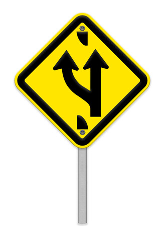 forked: Road sign indicating a forked road ahead Stock Photo