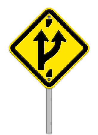 forked road: Road sign indicating a forked road ahead Stock Photo