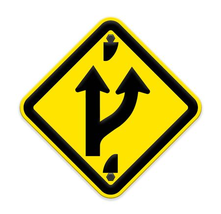 road ahead: Road sign indicating a forked road ahead Stock Photo