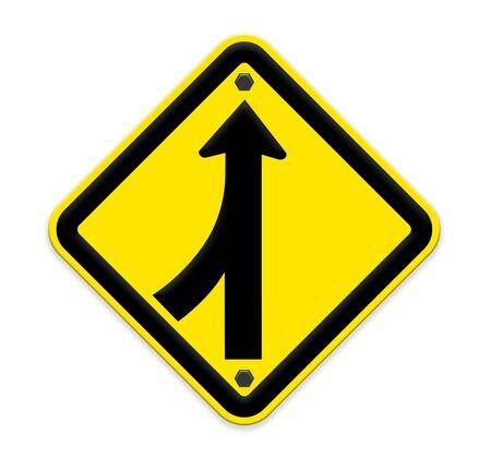 Road Merge Sign on white Фото со стока