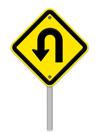 danger ahead: U-Turn Yellow road sign Stock Photo