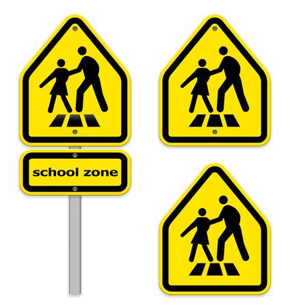 crosswalk: Bright yellow crosswalk signs