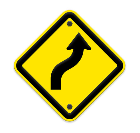 traffic sign curved warning . Part of a series. photo