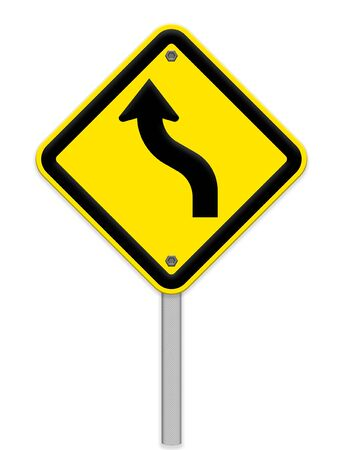 traffic curved warning sign photo