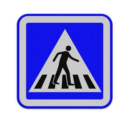 senda peatonal: se�al de paso de peatones con un hombre caminando Foto de archivo
