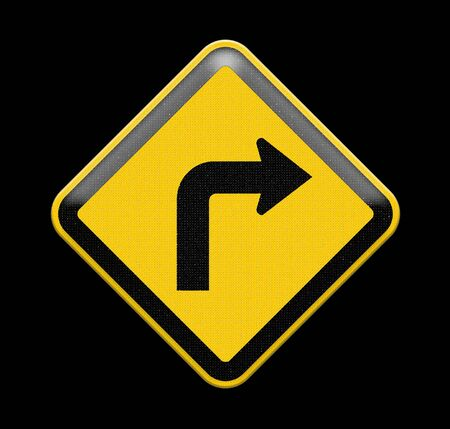 turn yellow: Turn right yellow road sign Stock Photo