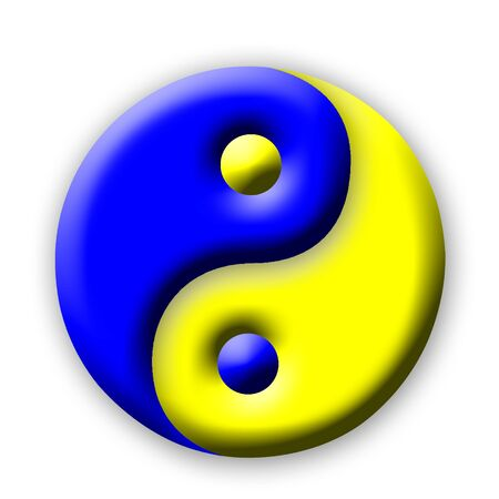 oneness: Yin Yang of colors on white background