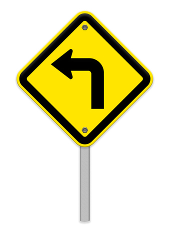 pointed arrows: Turn left road sign Stock Photo