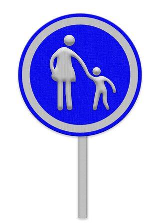 crosswalk: se�al de paso de peatones con la mujer y el ni�o caminando
