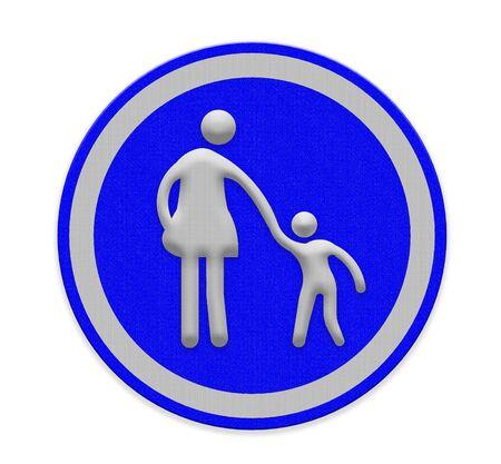 paso de cebra: señal de paso de peatones con la mujer y el niño caminando