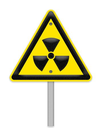 peril: Yellow triangle sign with a radiation symbol