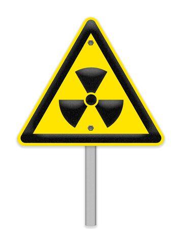 hazardous imperil: Yellow triangle sign with a radiation symbol