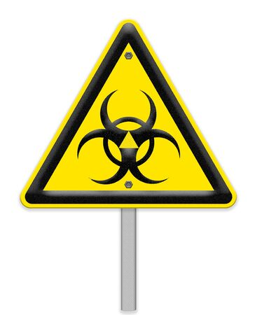 radiation symbol: Yellow triangle sign with a radiation symbol