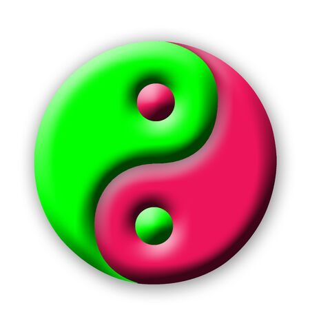 oneness: Colored Yin Yang on white background