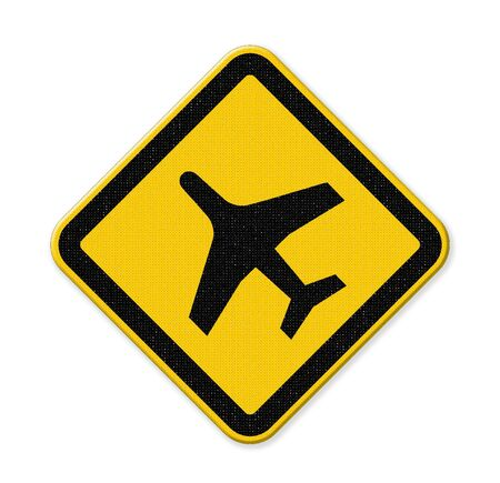airport sign: airport sign with plane isolate on white background Stock Photo