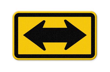flèche double: direction dans signe de la circulation