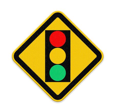 regulate: traffic light over yellow sign