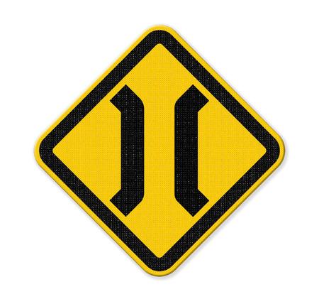 The Narrow Bridge sign isolated on white background Stock Photo