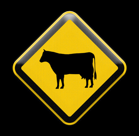 roadside: Cow warning sign on roadside