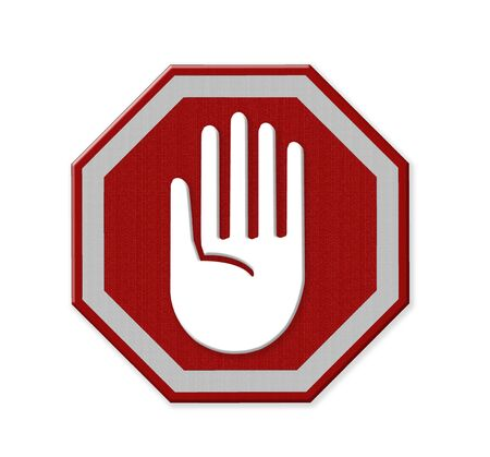 restrictive: Hand left Stop Sign, mesh isolate on white background