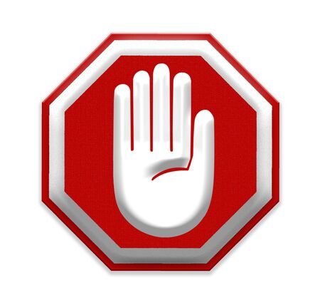 restrictive: Hand Stop Sign, mesh isolate on white background Stock Photo