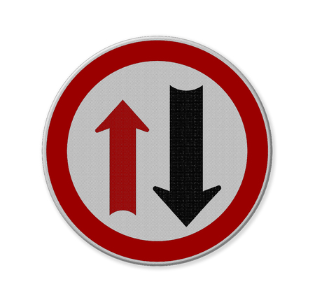 two way traffic: Two way traffic sign, isolate on white background