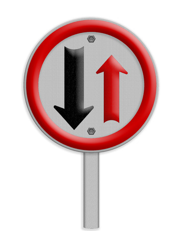 two way: Two way traffic sign, isolate on white background