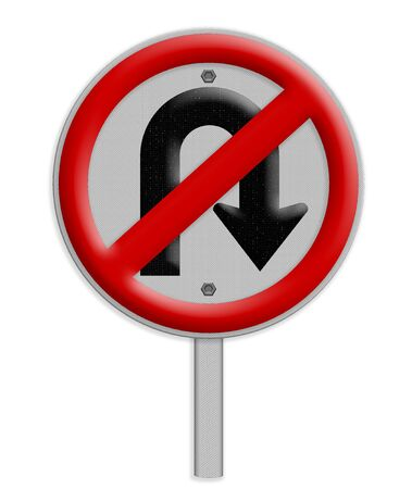 u turn sign: No U-turn road sign isolate on white background