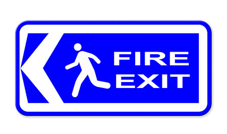 fire exit sign: Emergency fire exit sign Stock Photo