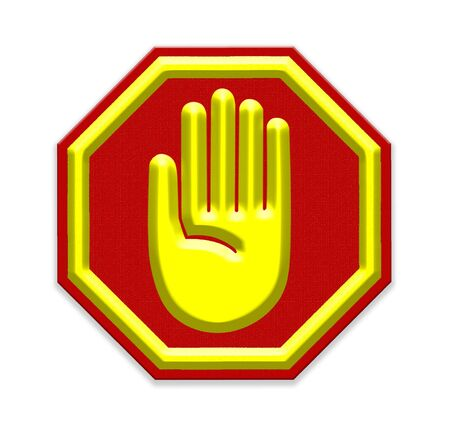 hand stop: Hand Stop Sign mesh isolate on white background Stock Photo