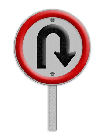 u turn sign: U Turn right traffic sign on white background
