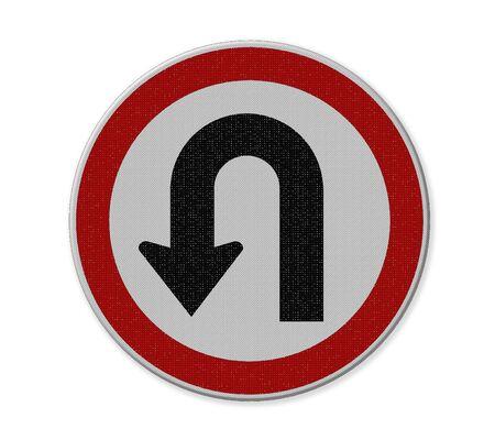 turn left: U Turn sinistra segno di traffico su sfondo bianco