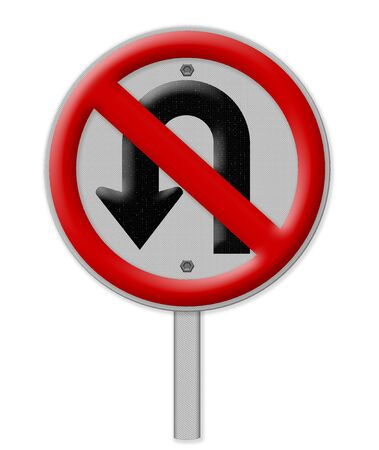u turn sign: No U turn road sign isolate on white background Stock Photo