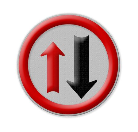 two way traffic: Two way traffic sign isolate on white background