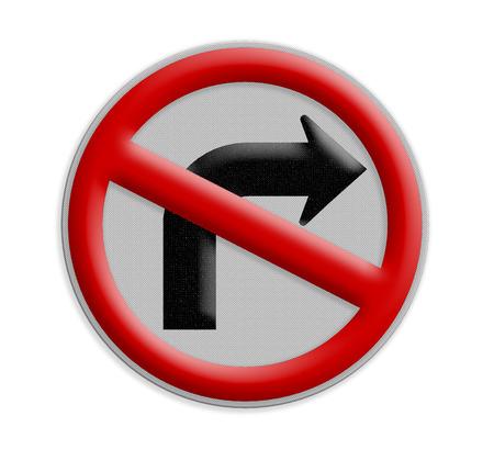 obedecer: La señal de tráfico no encienda aislar a la derecha en el fondo blanco Foto de archivo