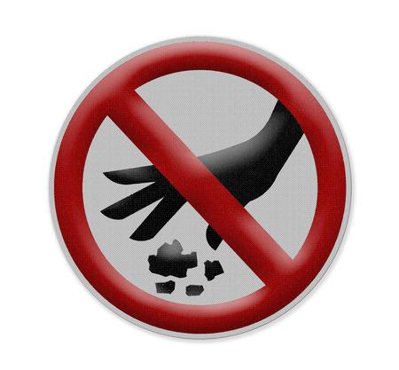 botar basura: No hay se�ales de tirar basura en el fondo blanco. Foto de archivo