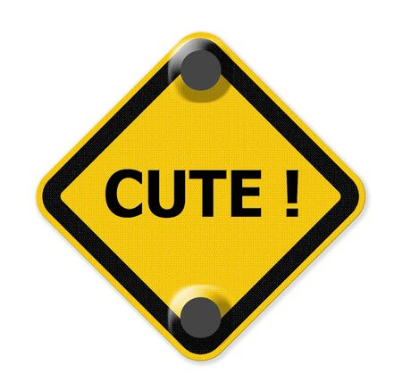 love explode: cute on yellow sign Stock Photo