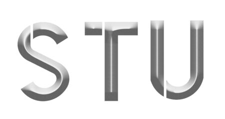 u s: alphabet S T U letters made from metal Stock Photo