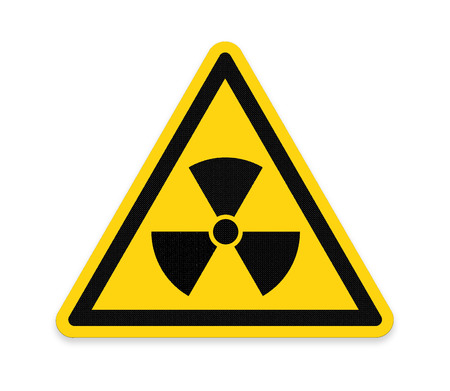 hazardous imperil: Yellow triangle sign with a radiation symbol ,part of a series.