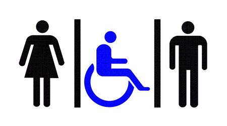 accessible: sign shows the way to the restroom