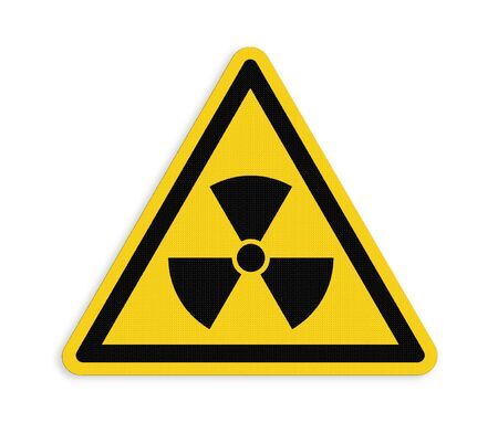 endanger: Yellow triangle sign with a radiation symbol ,part of a series.