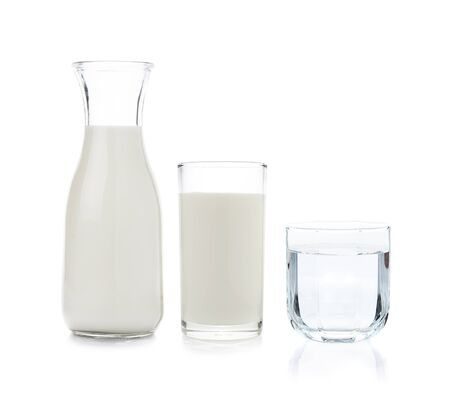 Glass and bottle of milk and drinking water on white background