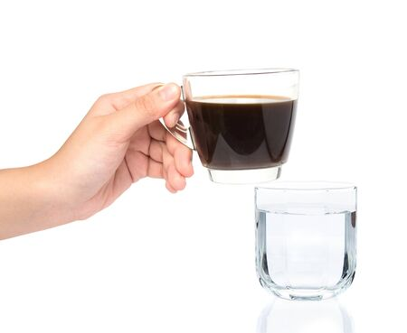 careerists: female hand holding cup of coffe with drinking water